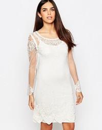 Платье-туника с вышивкой Club L - Кремовый