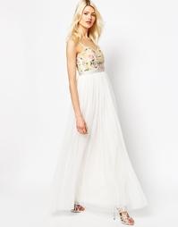 Платье макси с цветочной вышивкой Needle & Thread - Мел