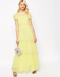 Шифоновое платье макси с кружевом Needle & Thread - Лимонный
