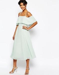 Платье миди с открытыми плечами ASOS - Нежная мята