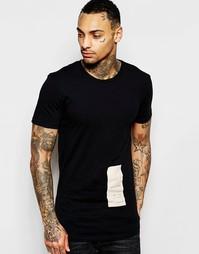 Длинная футболка с принтом Religion - Черный