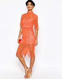 Платье миди с укороченным кружевным топом и фигурной отделкой ASOS