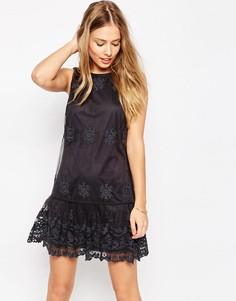 Сетчатое платье с вышивкой ASOS - Серый