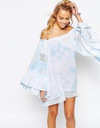 Пляжное платье с кружевом и принтом тай-дай Surf Gypsy