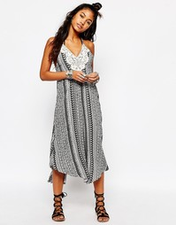 Платье миди с принтом цветов и полосок и нашивкой кроше Surf Gypsy