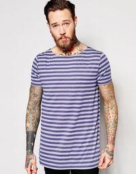 Сверхдлинная футболка в полоску с непсами и вырезом лодочкой ASOS