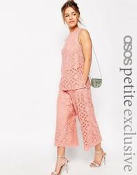 Кружевная юбка-шорты премиум класса ASOS PETITE OCCASION - Peach
