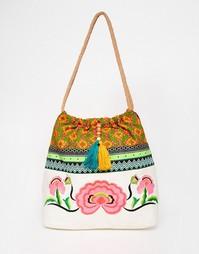 Пляжная сумка с цветочной вышивкой Glamorous - Мульти