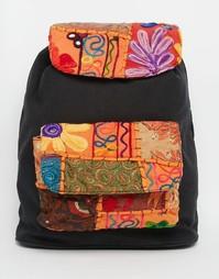 Холщовый рюкзак с вышивкой Glamorous - Черный с вышивкой