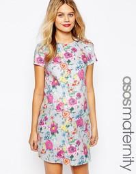 Платье-футболка для беременных с цветочным принтом ASOS Maternity