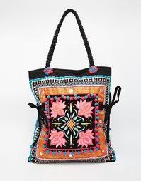 Пляжная сумка с вышивкой и помпонами Glamorous - Мульти