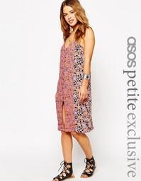 Платье-сорочка с пуговицами и комбинированным принтом ASOS PETITE