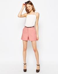Льняные шорты с ремнем ASOS Tailored - Пудрово-розовый
