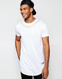 Удлиненная футболка с принтом цепочки SikSilk - Белый