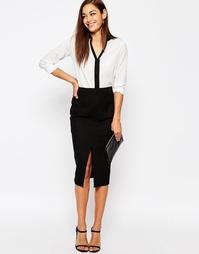 Льняная юбка-карандаш с карманами ASOS - Черный