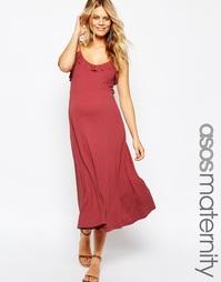 Платье миди с рюшами для беременных ASOS Maternity - Ягодный