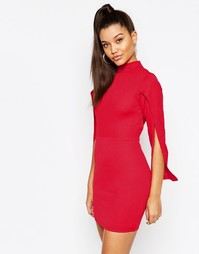 Платье мини с высоким воротом без рукавов NaaNaa - Красный