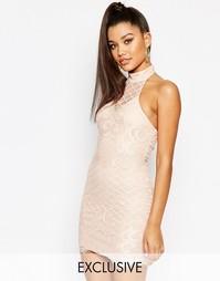 Кружевное платье с высокой горловиной NaaNaa - Телесный