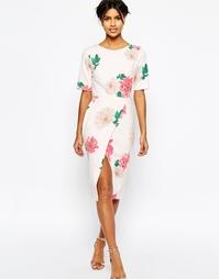 Платье с запахом и цветочным принтом ASOS Occasion - Мульти