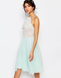 Короткое приталенное платье с кружевным топом и юбкой из тюля Jarlo Pe