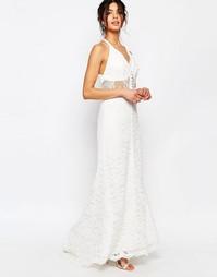 Кружевное платье макси с лямкой через шею Jarlo Petite - Белый