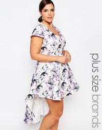 Платье для выпускного с цветочным принтом и асимметричной кромкой Trul Truly You