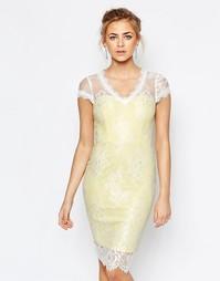 Кружевное платье‑футляр с V‑образным вырезом Paper Dolls - Желтый