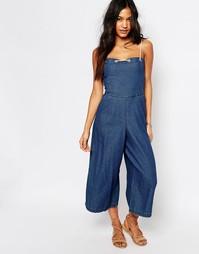 Комбинезон из шамбре в джинсовом стиле с юбкой‑брюками Boohoo - Синий