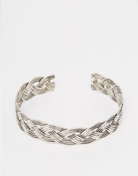 Плетеный браслет-манжета на предплечье ASOS - Серебряный