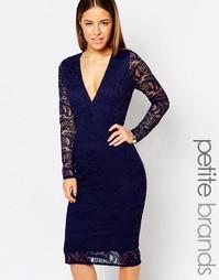 Платье миди с кружевом кроше Boohoo Petite - Темно-синий