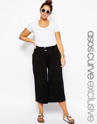 Укороченные брюки с широкими штанинами и D-образной пряжкой ASOS CURVE