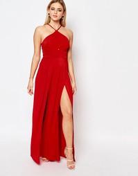 Платье макси с халтером Ariana Grande for Lipsy - Красный