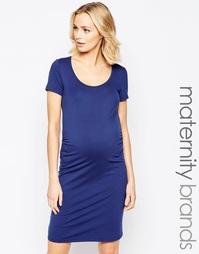 Базовое платье с короткими рукавами Mamalicious - Синий Mama.Licious