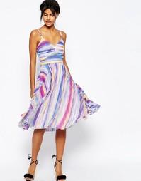 Плиссированное платье миди с прозрачными вставками и яркими полосками Asos