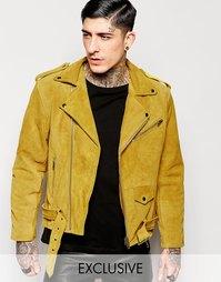 Замшевая байкерская куртка Reclaimed Vintage - Горчичный