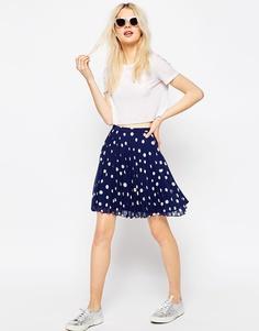 Мини-юбка в горошек со складками ASOS
