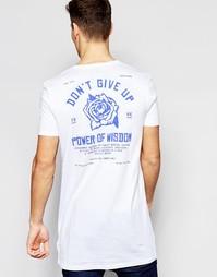 Длинная футболка с принтом на спине ASOS - Белый