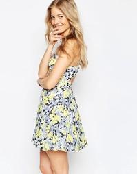 Плиссированное платье мини с цветочным принтом ASOS - Мульти