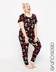 Пижамный комплект с футболкой и леггинсами ASOS CURVE - Мульти