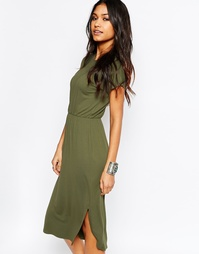 Приталенное платье‑футболка миди ASOS - Хаки