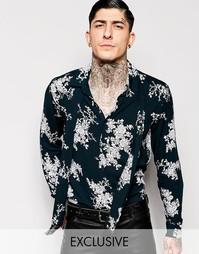 Рубашка с цветочным принтом и шарфом у горловины Reclaimed Vintage