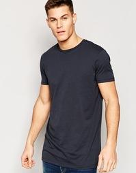 Удлиненная свободная футболка черного цвета ASOS - Выбеленный черный