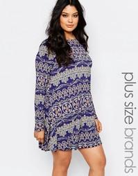 Свободное платье с длинными рукавами и принтом Boohoo Plus - Синий