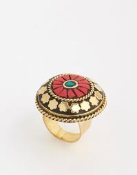 Кольцо с диском и красной печатью Glamorous - Золотой