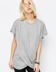 Длинная футболка с запахом спереди ASOS WHITE - Серый