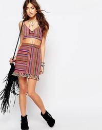 Фестивальная юбка с бахромой и ацтекским принтом Young Bohemians