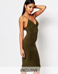 Платье миди на тонких бретельках Club L - Оливково-зеленый