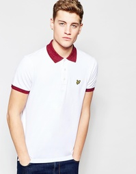 Белая футболка‑поло c меланжевым воротником Lyle & Scott - Белый