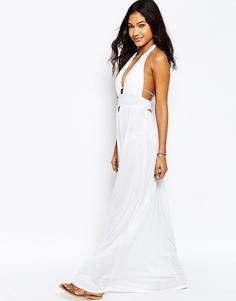 Пляжное платье макси с завязкой на шее ASOS - Белый