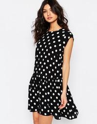 Платье в горошек с заниженной талией Y.A.S - Однотонный горошек
